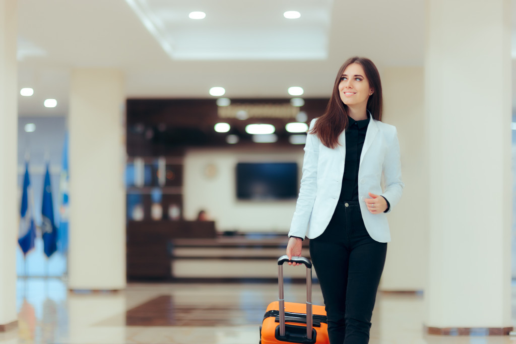 woman with her luggage