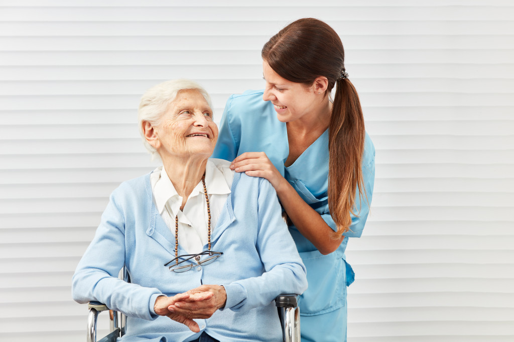 old woman in senior care